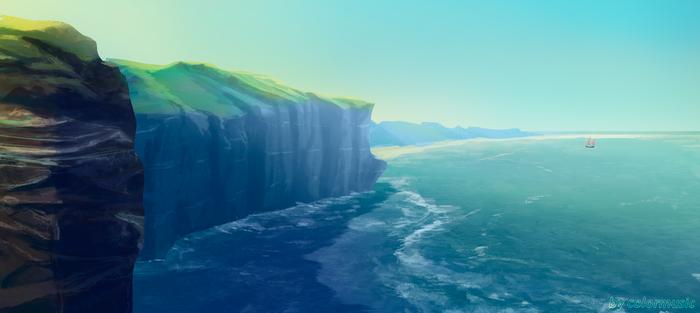 Критика приветствуется :) Арт, Рисунок, Цифровой рисунок, Пейзаж, Море, Корабль, Скалы