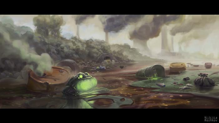 Болото Кадр, Мультфильмы, Болото, Радиация, Экология, Рисунок, Цифровой рисунок