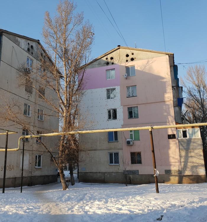 Фиолетово Дом, Казахстан, Хрущевка, Ремонт, Утепление фасада