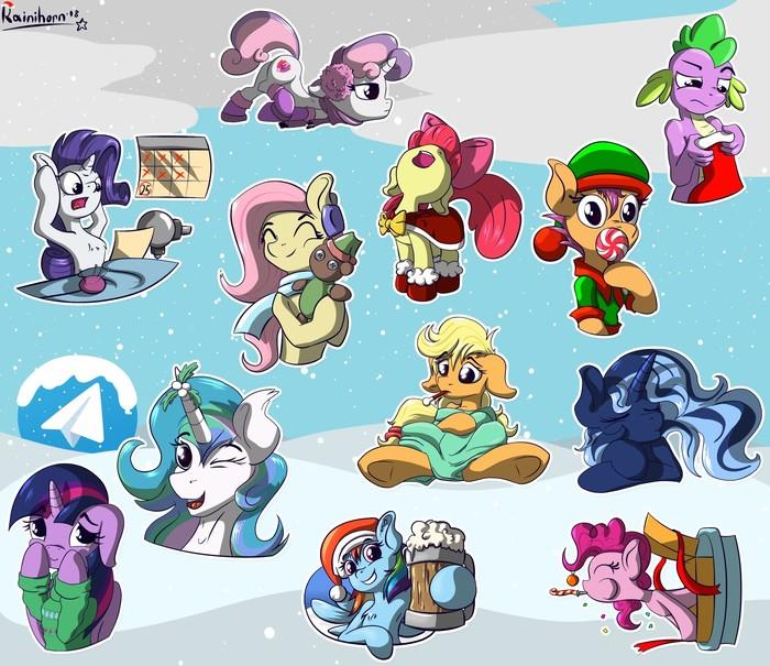 Немного новогодних стикеров от Rainihorn Rainihorn, My Little Pony, Telegram, Стикеры telegram