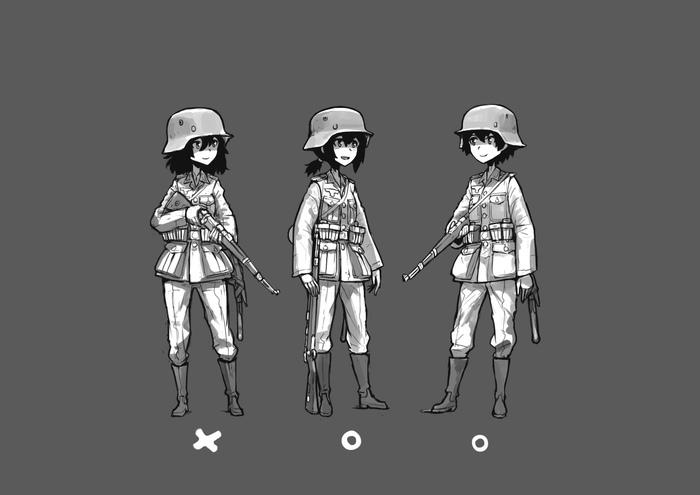 Держите винтовку правильно! Anime Art, Аниме, Милитаризованные девицы, Винтовка, Длиннопост