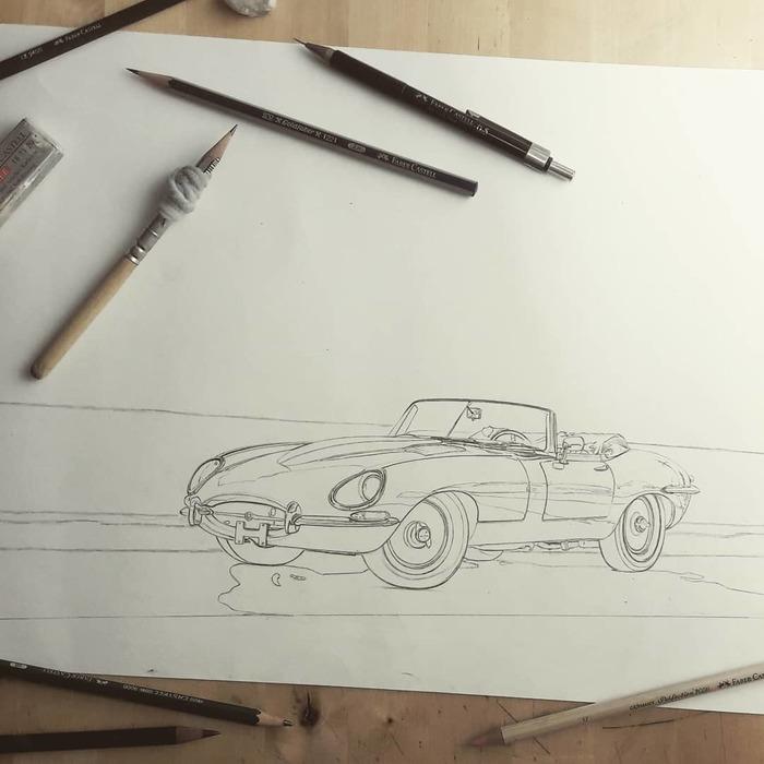 1965 Jaguar E-Type Roadster Series One Jaguar E-type, Ягуар, Арт, Машина, Искусство, Рисунок карандашом, Рисунок, Длиннопост