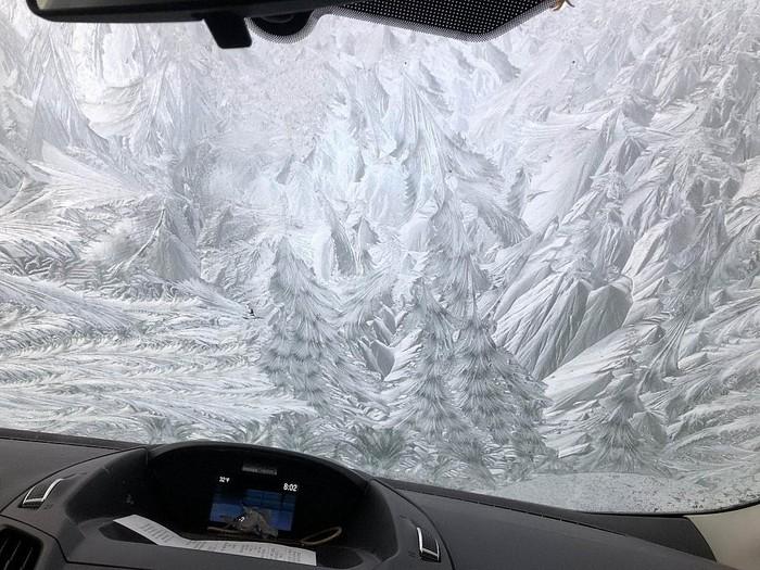 Мороз - лучший художник! Лобовое стекло, Авто, Заморозки, Узоры