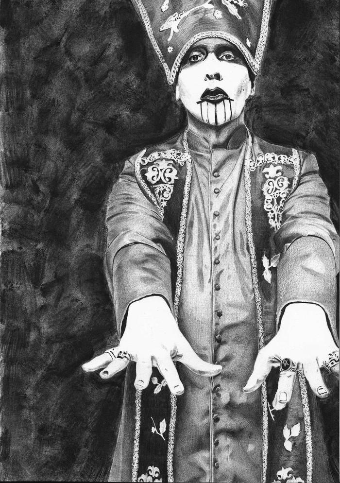 Marilyn Manson Арт, Рисунок, Рисунок ручкой, Шариковая ручка, Портрет, Мэрилин Монро, Музыканты, Знаменитости
