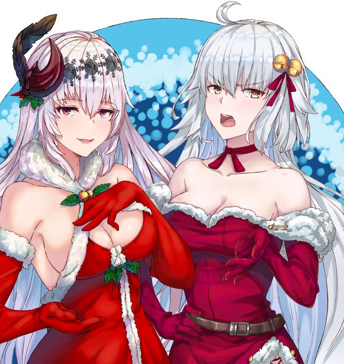 С Наступающим Новым Годом! С Новым Годом!!, 2019, Anime Art, Милашка, Поздравление, Azur Lane, Deutschland, Admiral Graf Spee, Длиннопост