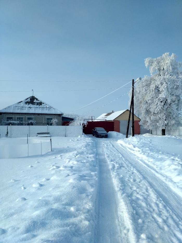 Село после Рождества Зима, Иней, Село, Длиннопост