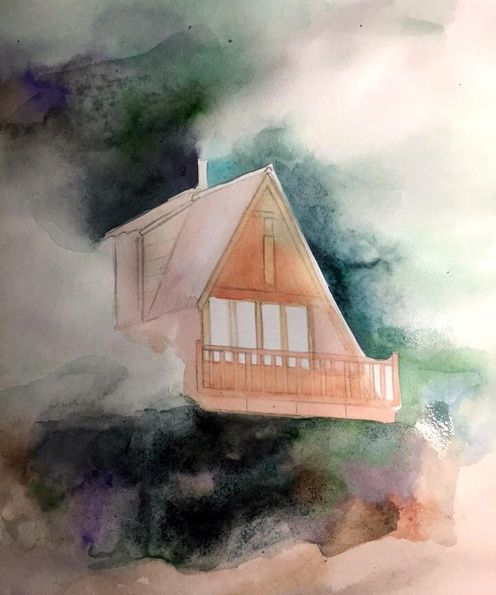 Домик в стиле шале (Акварель) Творчество, Акварель, Рисунок, Лес, Домик в лесу, Okta23, Длиннопост