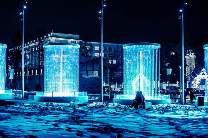 Новогодние праздники в Москве Фотография, Картинки, Москва, Sony, Ночь, Киберпанк, Город, Новый Год, Длиннопост