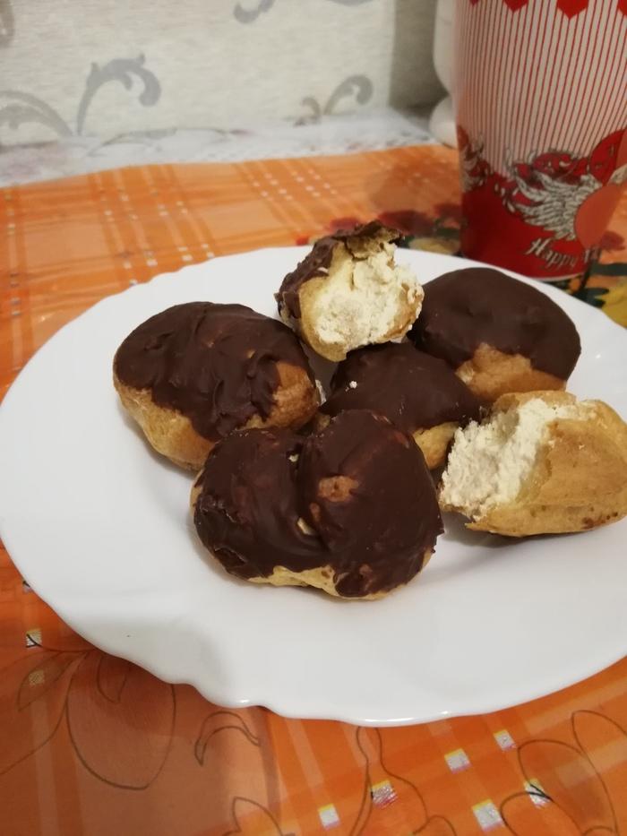 Заварные булочки в шоколаде со взбитыми сливками) Еда, Взбитые сливки, Кулинария, Длиннопост, Заварное тесто, Булочки, Рецепт