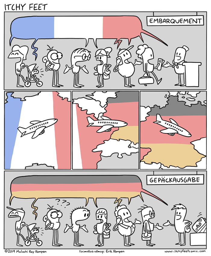 Смена Языков Itchy Feet, Комиксы, Перевод, Германия, Франция, Иностранные языки, Перелёты