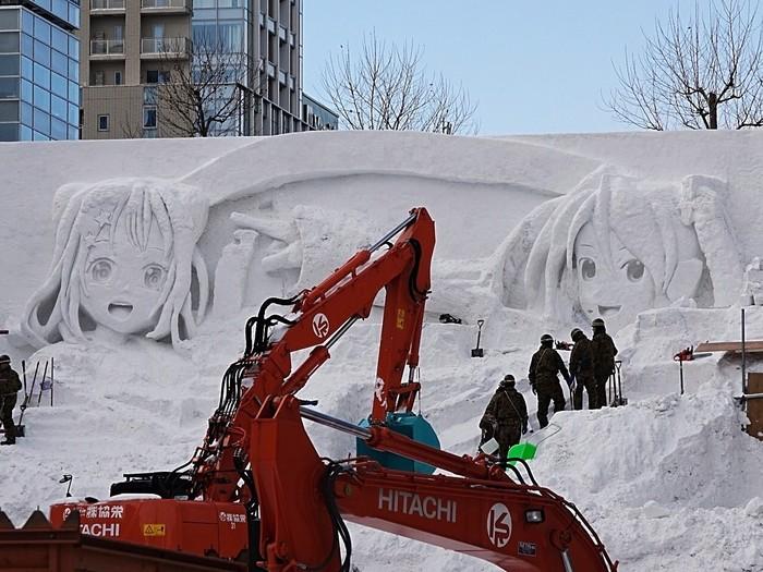Подготовка к снежному фестивалю в Саппоро Аниме, Не аниме, Vocaloid, Hatsune Miku, Toyama Kasumi, Снежная скульптура, Vocaloid новости, Длиннопост