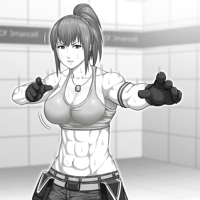 Leona Heidern Cantamaminaide, Арт, Крепкая девушка, Leona heidern, King of Fighters, Аниме, Anime Art