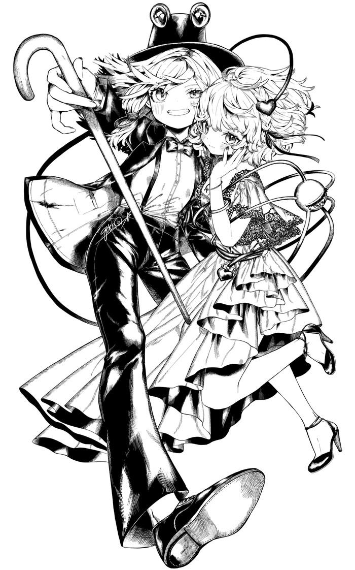 Suwako & Satori Аниме, Anime Art, Touhou, Moriya Suwako, Komeiji Satori, Gotoh510, Монохром, Длиннопост
