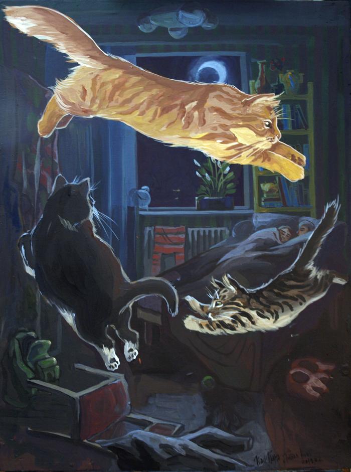 Тихая ночь. Из жизни котовладельца Темпера, Кот, Картина, Живопись, Бег