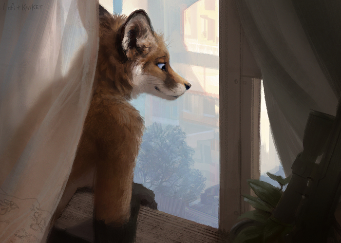 Good Morning Фурри, Арт, Антро, Furry Fox, Коллаб, Lofi, Kenket, Hax
