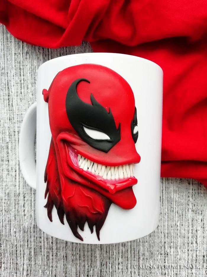 Venompool на кружке Deadpool, Веном, Кружка, Полимерная глина, Ручная работа, Рукоделие без процесса, Handmade, Marvel, Длиннопост
