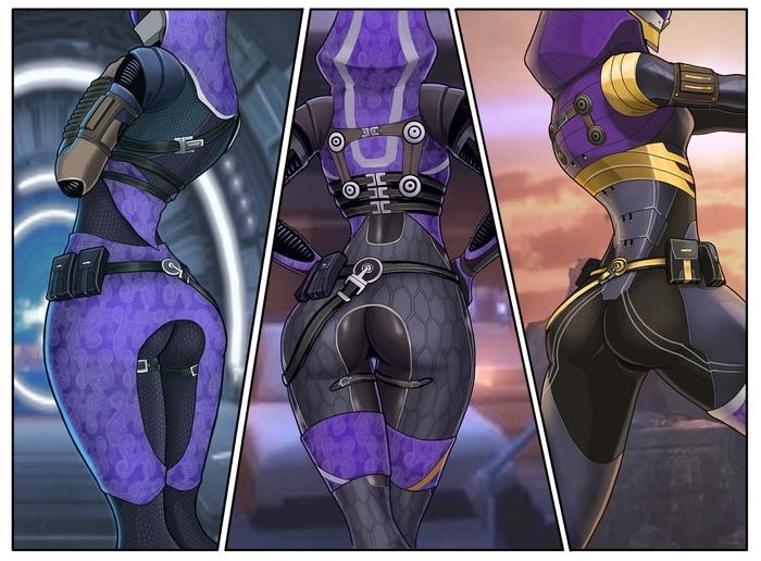 Tali x3 back view Spacemaxmarine, Tali zorah, Mass Effect, Игры, Арт