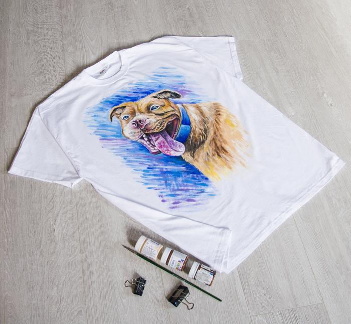Питбуль, ручная роспись футболки Собака, Питбуль, Роспись по ткани, Одежда, Футболка