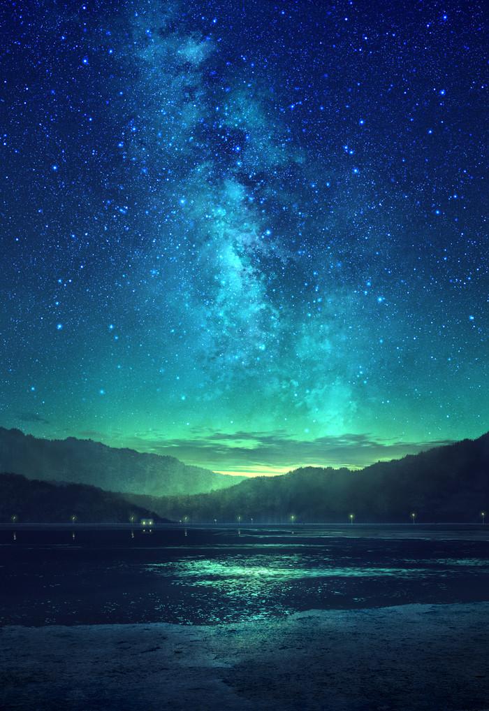 Night sky Арт, Небо, Ночь, Mks, Звездное небо