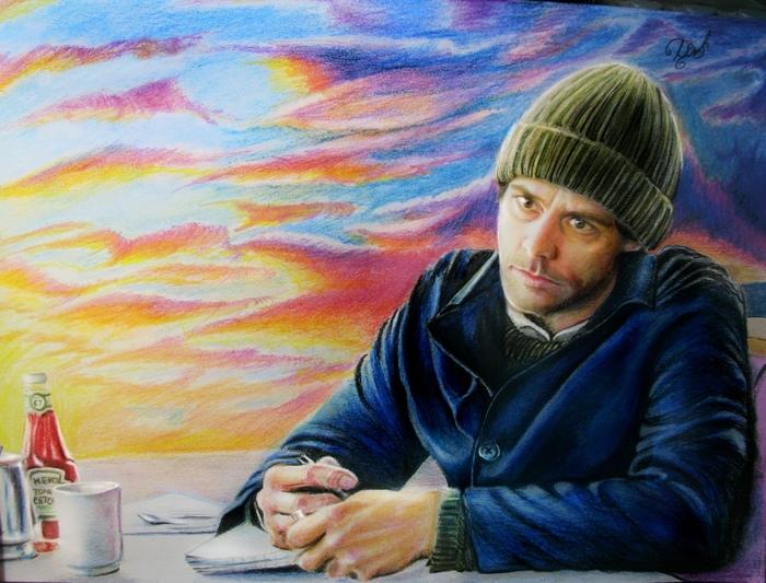 Первые рисунки в этом году :) Арт, Вечное сияние чистого разума, Творчество, Цветные карандаши, Кейт Уинслет, Джим Керри, Небо, Рисунок