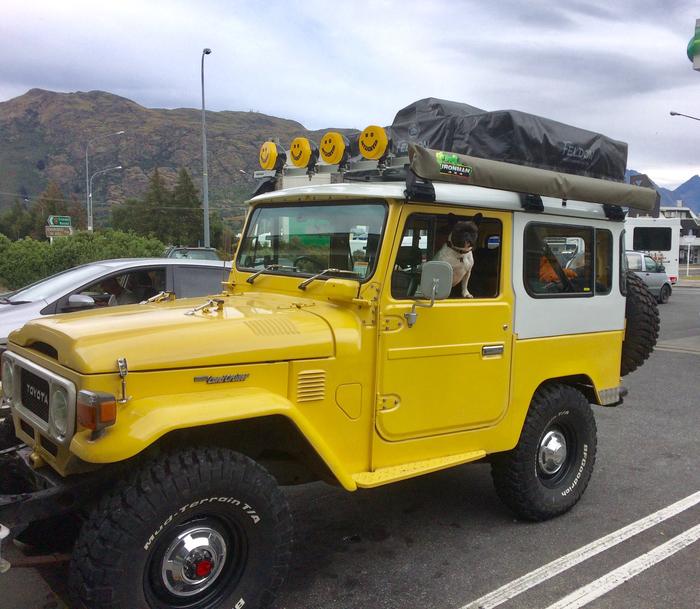 Toyota Land Cruiser (J40) - классика рамных внедорожников. Шли с 1960 по 1984 год. 40-е были схожи с Jeep CJ. И да - собакены его уважают.