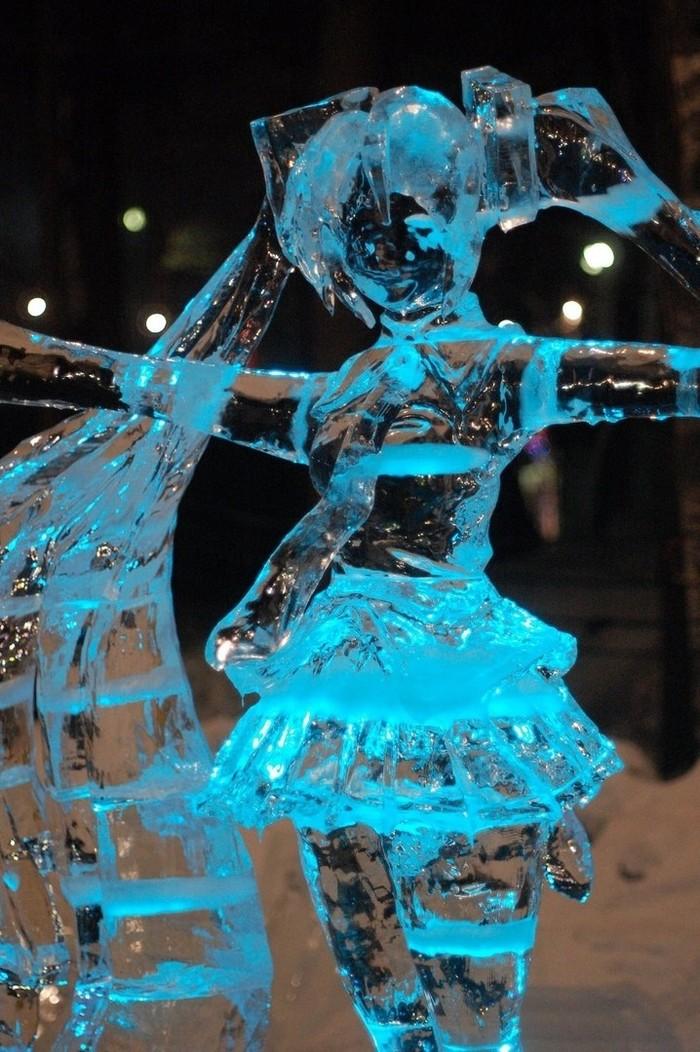 Ледяные скульптуры Мику из Саппоро Аниме, Не аниме, Vocaloid, Hatsune Miku, Ледяная скульптура, Длиннопост
