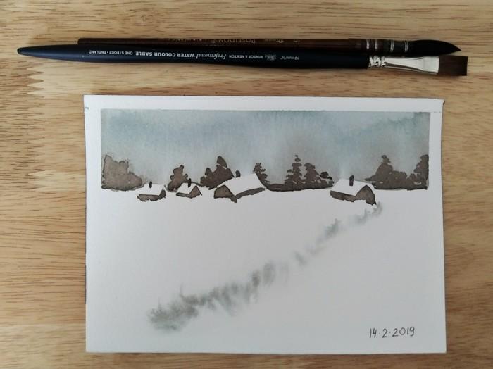 Акварельный минимализм Акварель, Учусь рисовать, Минимализм, Пейзаж, Длиннопост, Рисунок, Зима, Снег