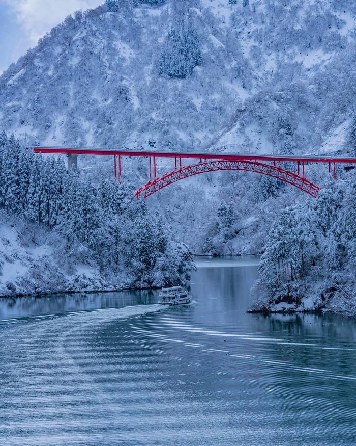 Река Сёгава. Январь 2019 Река, Япония, Зима, Снег, Природа, Красивое, Пейзаж, Мост, Длиннопост