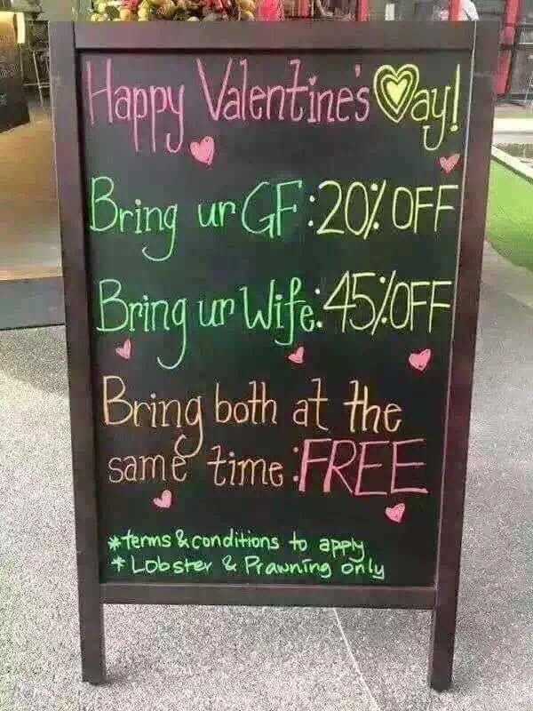 Акция на день святого Валентина: День святого Валентина, Бар, Акции