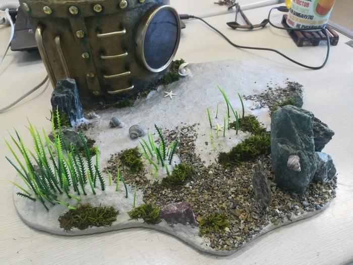 Ночник-водолаз (база) часть 6. База, Папье-Маше, Своими руками, Рукоделие с процессом, Длиннопост, Миниатюра