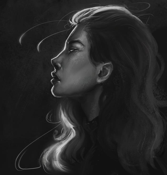 Дорисовал один из скетчей Портрет, Рисунок, Цифровой рисунок, Девушки, Скетч, Видео, Длиннопост, Процесс рисования, Photoshop
