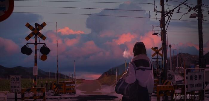 Момент тишины Арт, Рисунок, Железнодорожный переезд