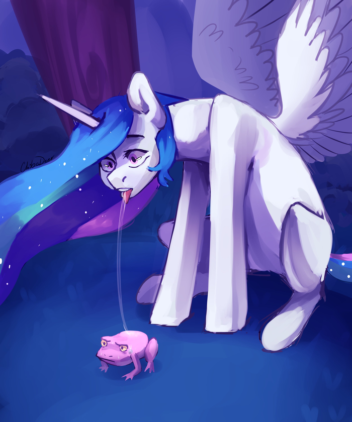 Let's lick the frog My Little Pony, Princess Celestia, Лягушки, Chibadeer