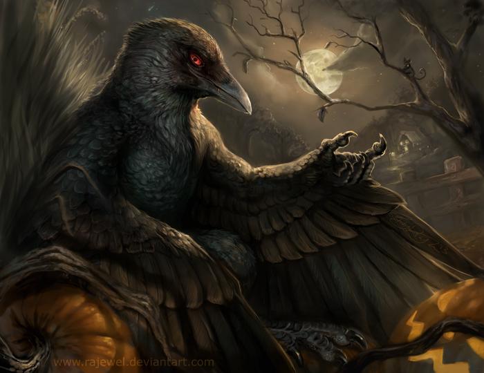Halloween Фурри, Furry Art, Антро, Furry avian, Furry Crow, Хэллоуин, Rhyu, Rajewel