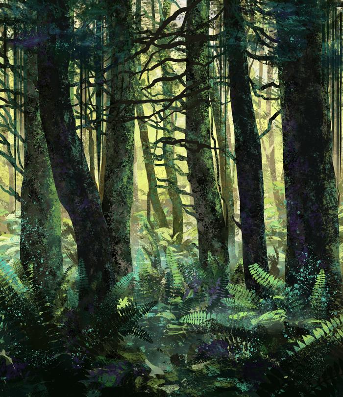 Лес Арт, Иллюстрации, Цифровой рисунок, Лес, Природа, Рисунок