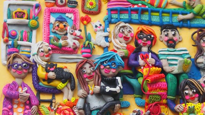 Моя семья)) Пластилин, Пластилиновая живопись, Пластилиновая картина, Диана Зименс, Семья, Лепка, Длиннопост