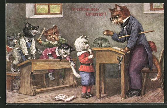 Немецкие ученые котики Кот, Картинки, Германия, Школа, Длиннопост