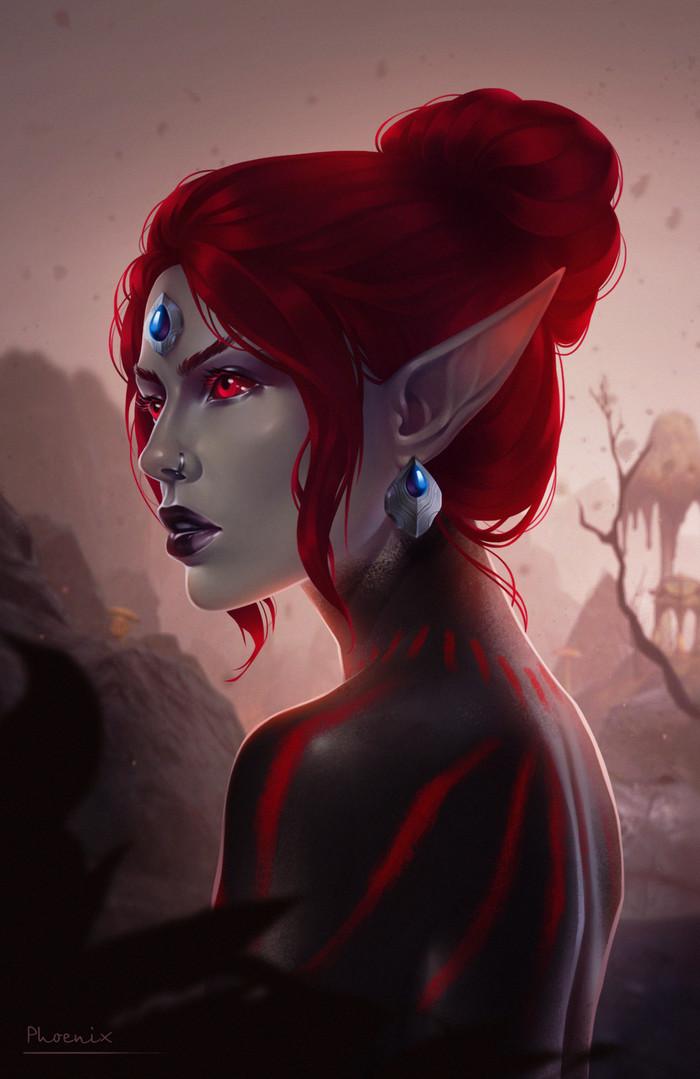 Dunmeri girl The Elder Scrolls, The Elder Scrolls Online, Арт, Фан-Арт, Данмеры, Игры