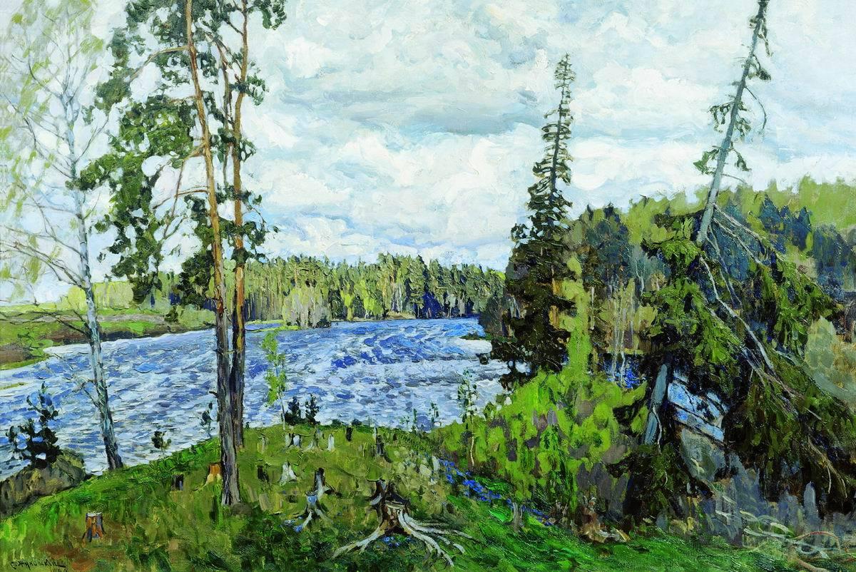 Обои Пейзаж с Грозой, картина, дома, Клод Моне, лодка. Разное foto 12