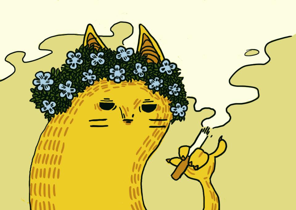 Рисунок кот с цветами