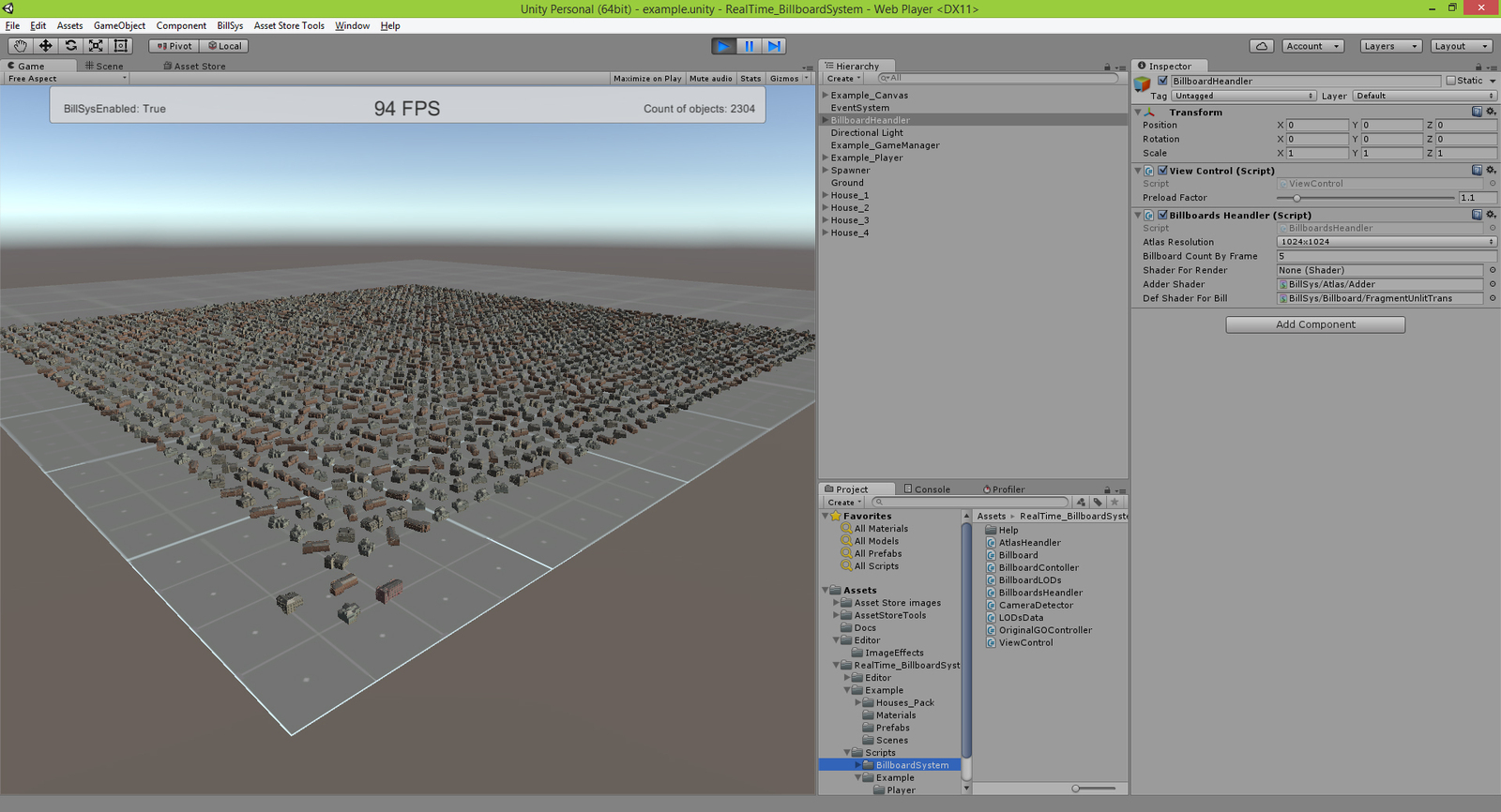Unity 3D Asset Store - Мой проект  Realtime Billboard System
