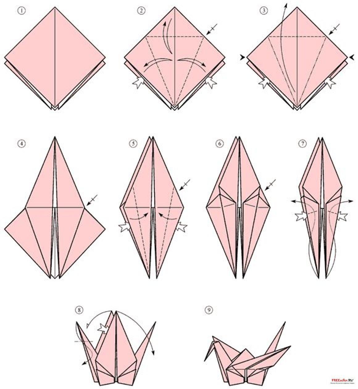 Оригами журавлик как его сделать 675