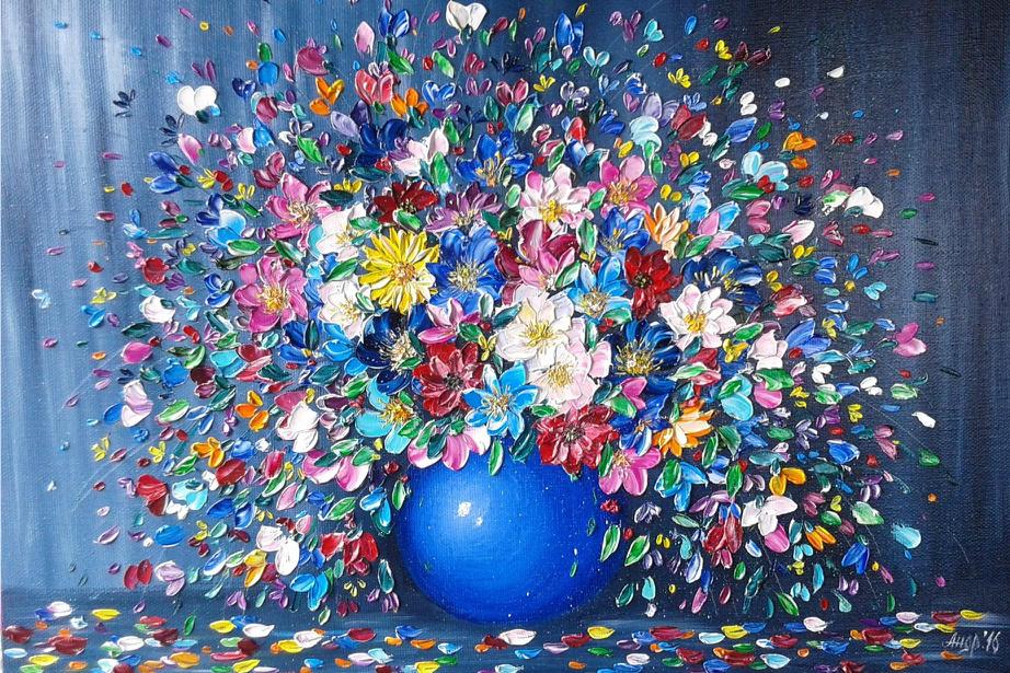 живопись цветы картинки