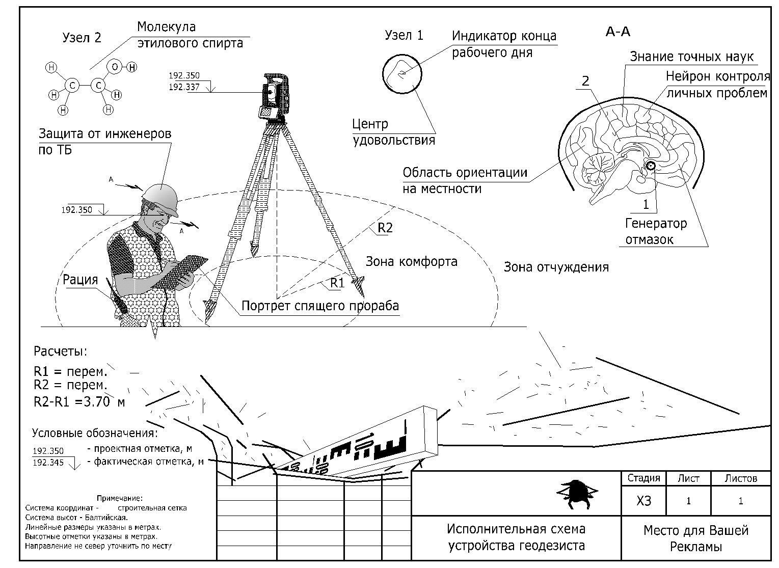 Схема устройства мозга