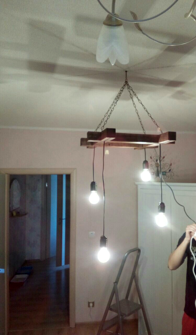 лофт светильник из дерева