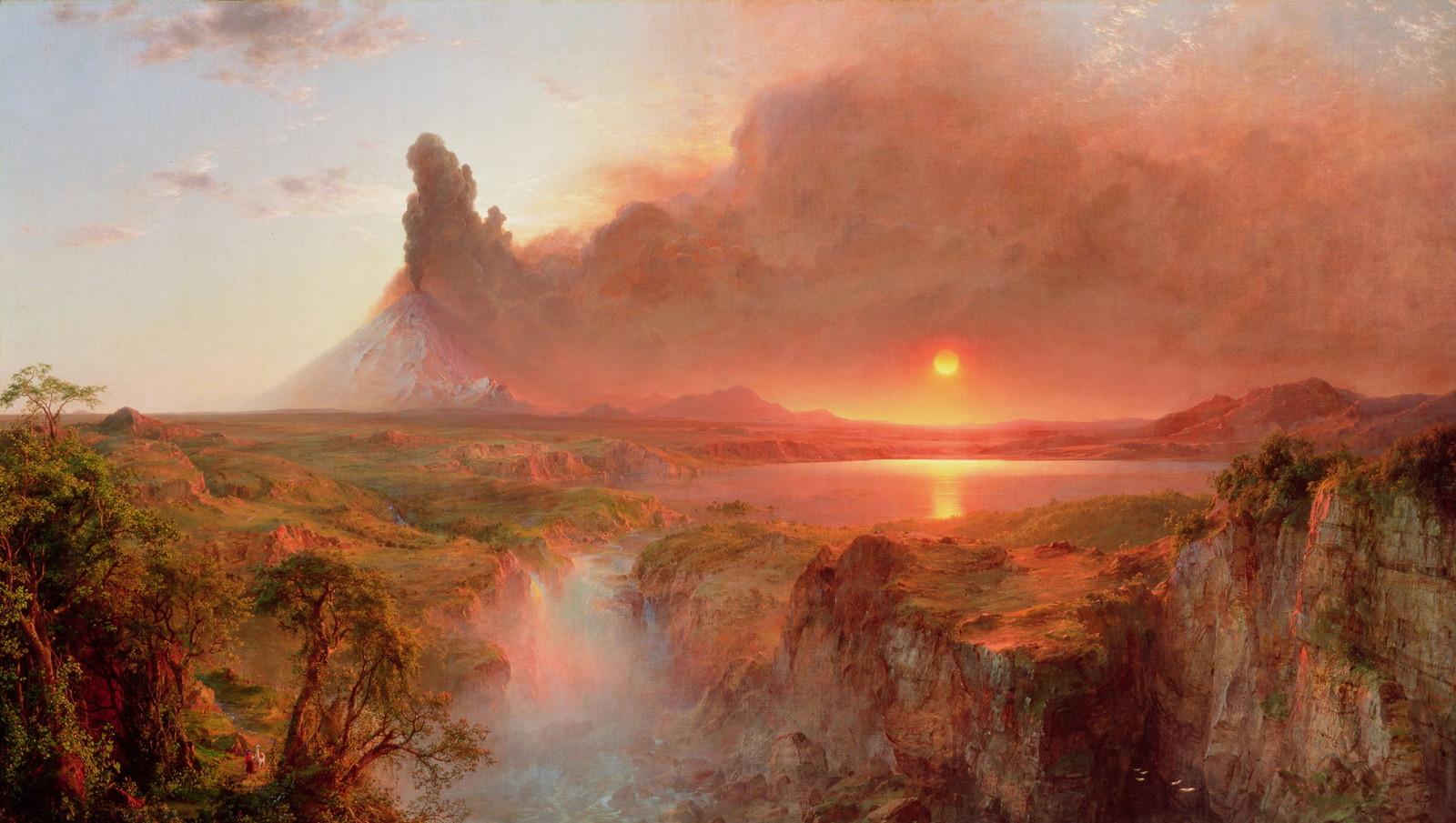 Обои водопад, Пейзаж, картина, Сердце Анд, Фредерик Эдвин Чёрч. Разное foto 8