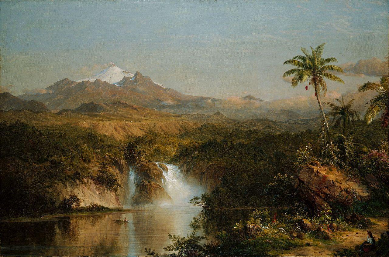 Обои водопад, Пейзаж, картина, Сердце Анд, Фредерик Эдвин Чёрч. Разное foto 6