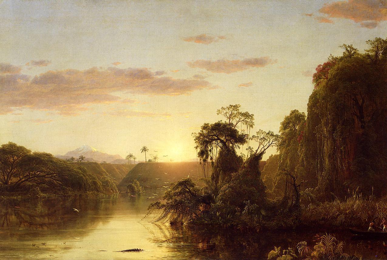 Обои водопад, Пейзаж, картина, Сердце Анд, Фредерик Эдвин Чёрч. Разное foto 10