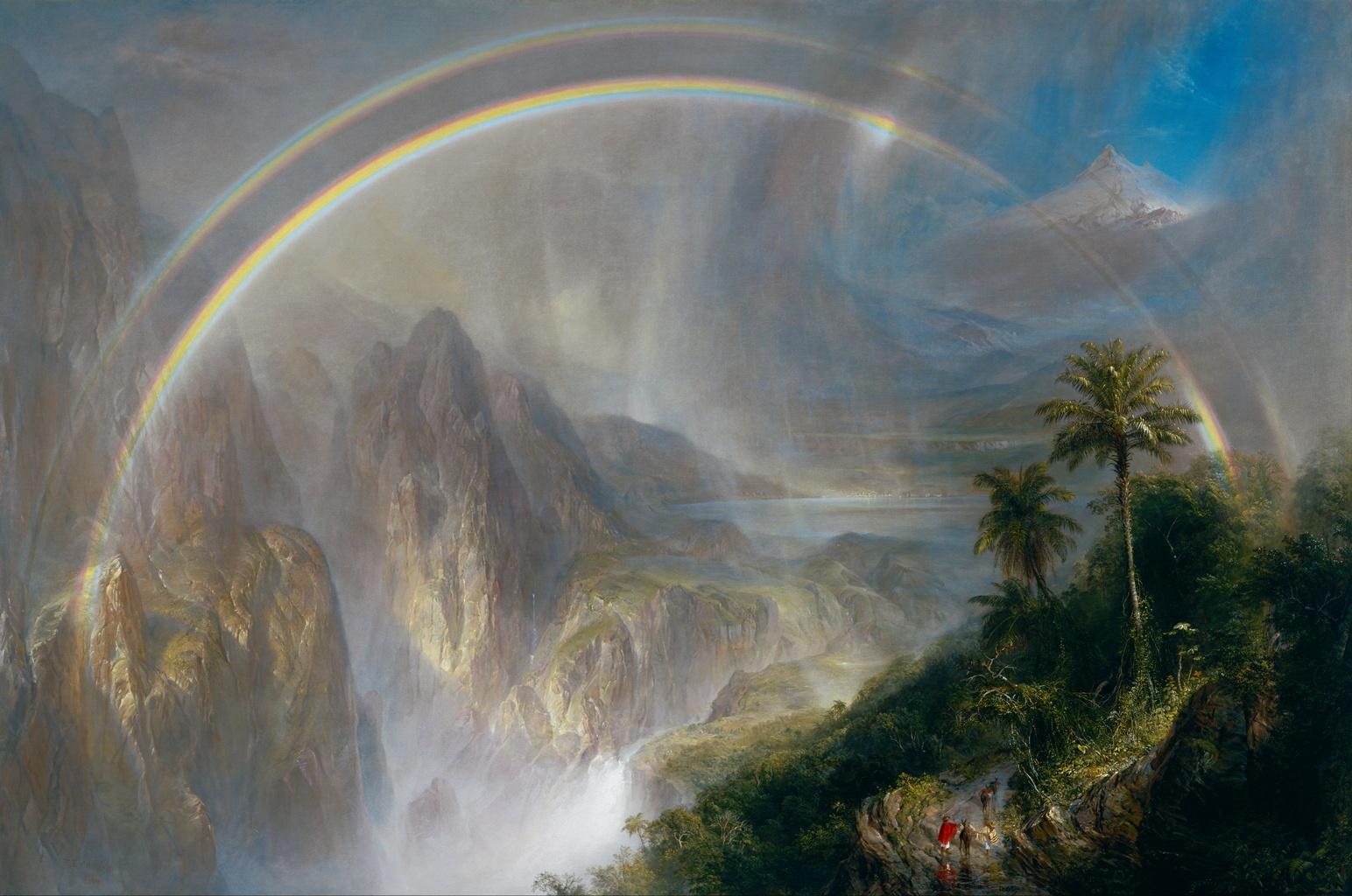 Обои водопад, Пейзаж, картина, Сердце Анд, Фредерик Эдвин Чёрч. Разное foto 13