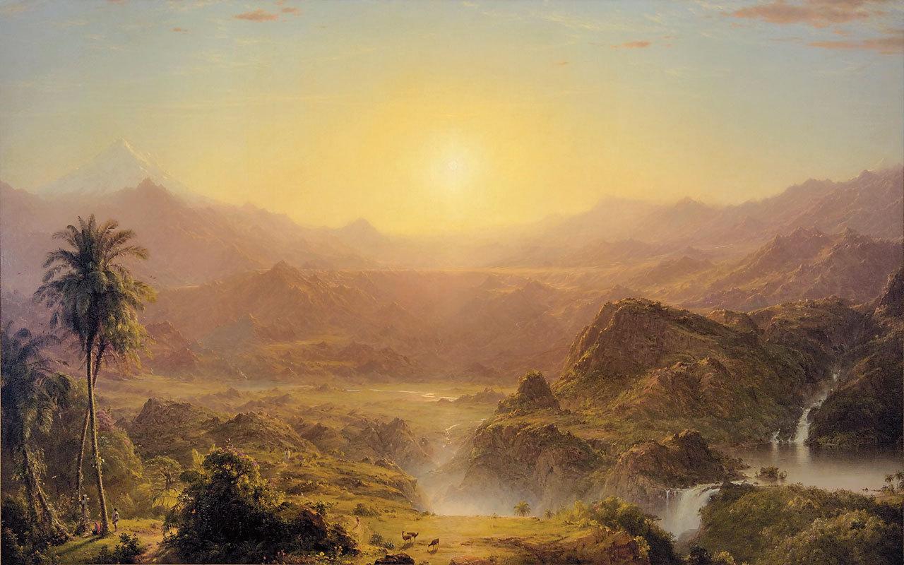 Обои водопад, Пейзаж, картина, Сердце Анд, Фредерик Эдвин Чёрч. Разное foto 12